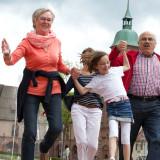 Familie auf dem Marktplatz in Freudenstadt