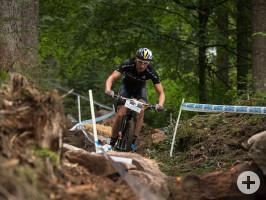 Mountainbiker Simon Stiebjahn auf der Bundesliga Strecke im Christophstal