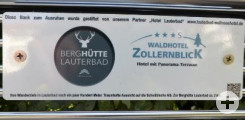 Sitzbank in der Lauterbadstraße mit Sponsor Berghütte Lauterbad/Waldhotel Zollernblick