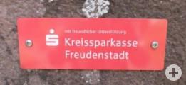 Sitzbank Lauterbadstraße mit Sponsor Kreissparkasse