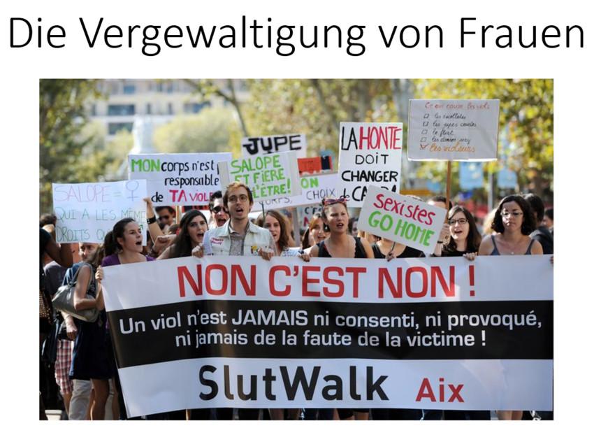 Demonstration gegen Vergewaltigung von Frauen