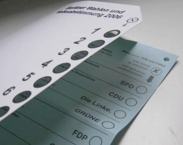 Stimmzettelschablone: Stimmzettel nach einem Berliner Muster von 2006