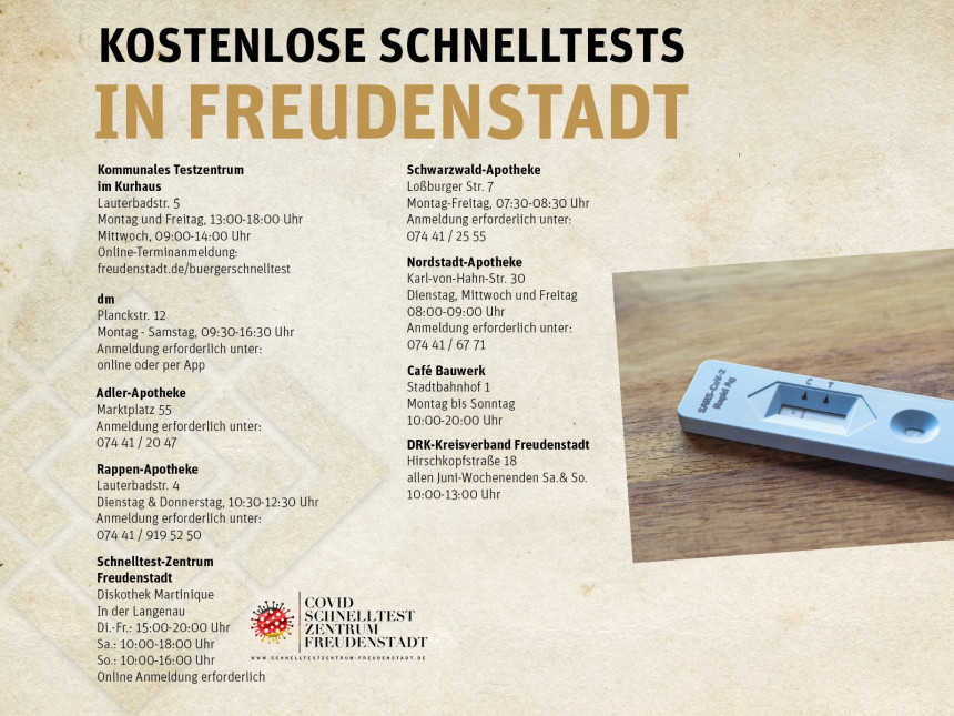 Schnelltestmöglichkeiten in Freudenstadt