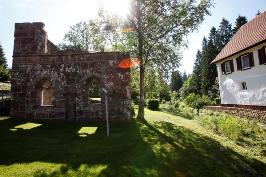Blick auf die Klosterruine Kniebis