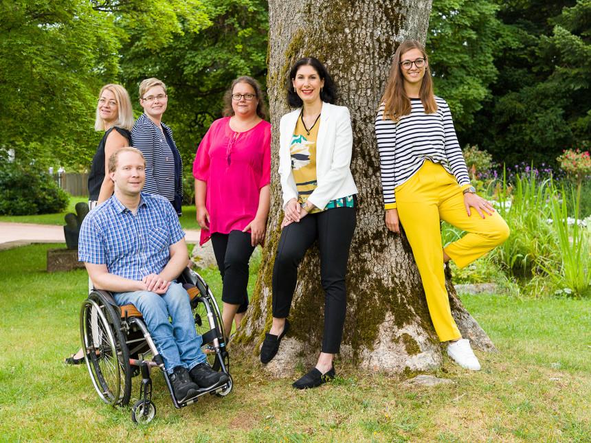 Das Team der Tourist-Information Von links nach rechts: Kristina Großmann, Nicole Mißbach, Benedikt Hillerkuß, Isabel Blüher, Fabienne Janz und Carolin Moersch